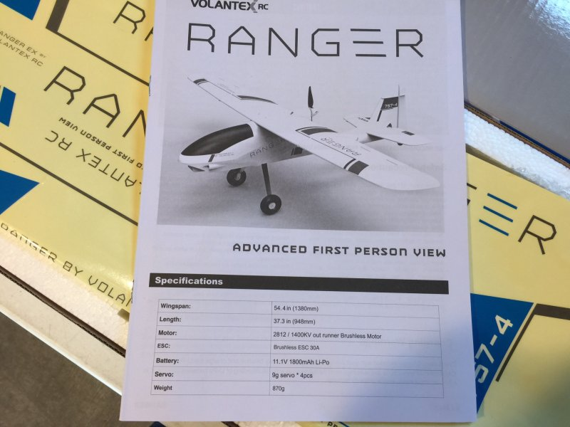 Image 5 of Volantex RC RANGER 1.4M FPV TRAINING PLANE, RTF W/ BATTERY AND CHARGER