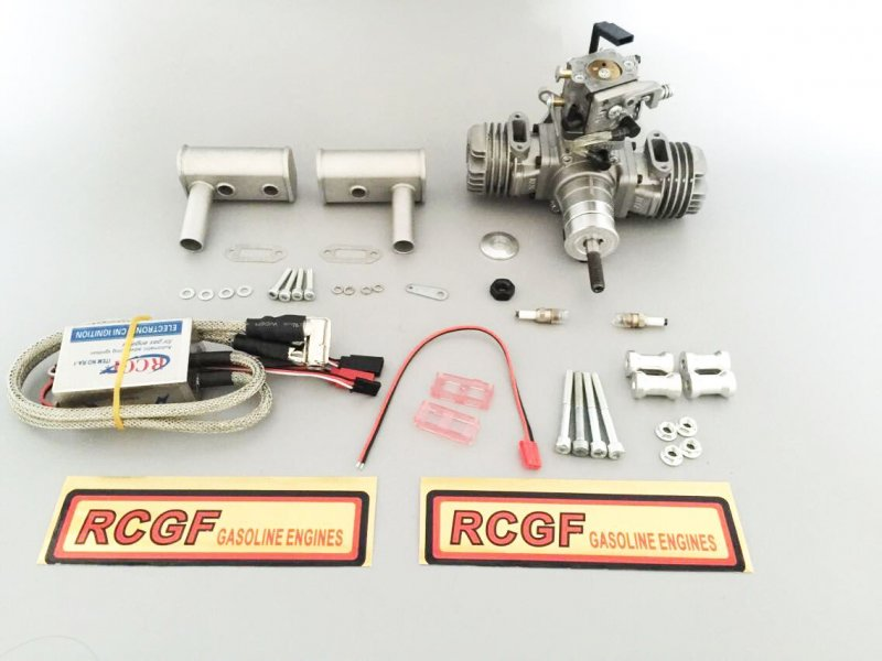 Image 6 of RCGF 21cc Twin Cylinder Gas R/C Engine 1/4 32 spark plugs