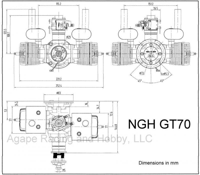 Image 8 of NGH GT70cc TWIN cylinder gas engine 7.9HP