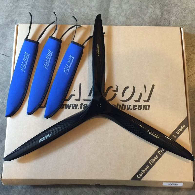 Image 2 of Falcon 23x10 3 Blade Carbon Fiber Propeller Gas
