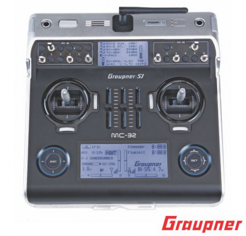 Image 1 of Graupner mc-32 PRO 16 Channel 2.4GHz HoTT Transmitter | Tray Radio