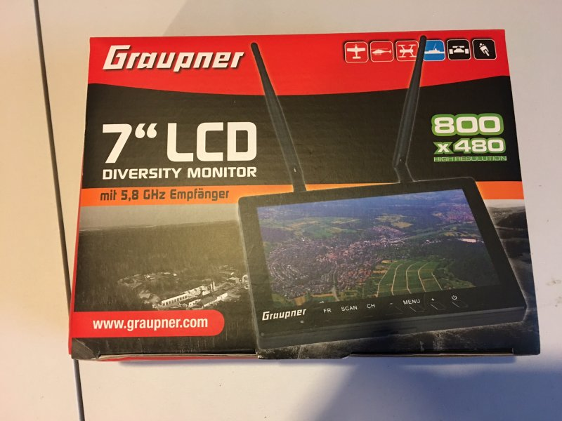 Image 0 of Graupner 7 inch TFT LCD 5.8GHz Diversity Monitor 800x480