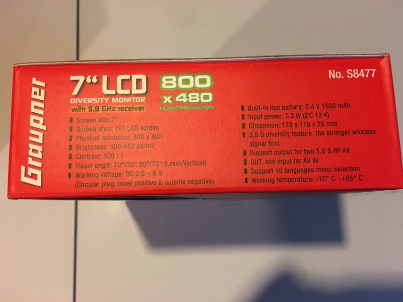 Image 1 of Graupner 7 inch TFT LCD 5.8GHz Diversity Monitor 800x480