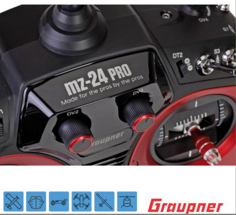 Image 2 of Graupner mz-24 PRO 12 Channel 2.4G.HZ HoTT Color TFT Transmitter Red