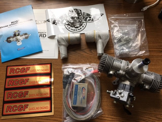 Image 0 of RCGF 30CC TWIN Cylinder Gas Engine (New version with 1/4 32 angled spark plugs)
