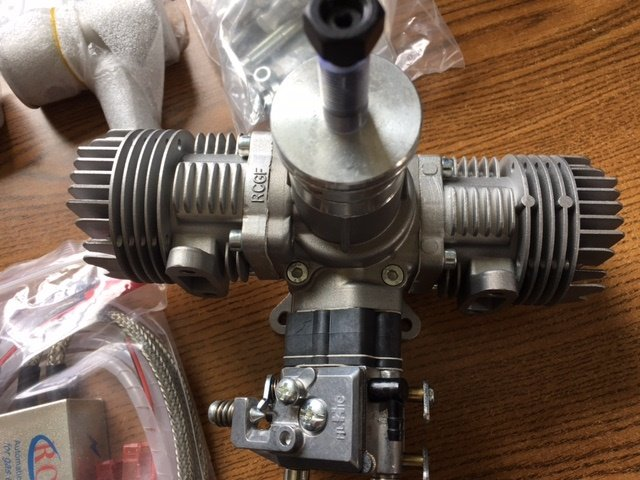 Image 1 of RCGF 30CC TWIN Cylinder Gas Engine (New version with 1/4 32 angled spark plugs)