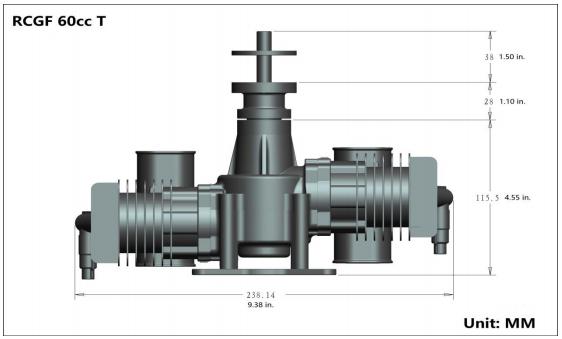 Image 5 of RCGF 60cc TWIN Gas Engine (new version w/angled plugs)