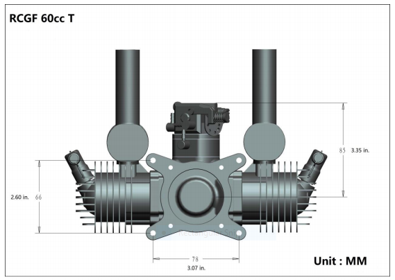 Image 6 of RCGF 60cc TWIN Gas Engine (new version w/angled plugs)