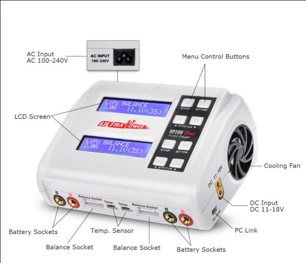 Image 0 of Ultra Power UP200 DUO 200W Dual Port Multi-Chemistry AC/DC Charger