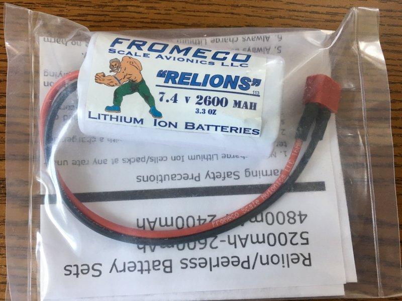 Image 0 of Relion 2600mah 7.4volt Ion Deans connector 16 gauge wire