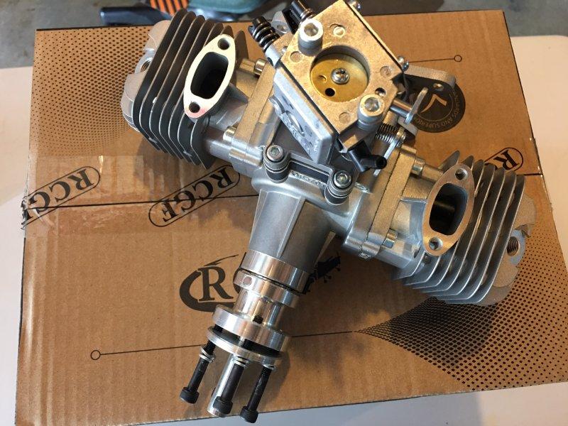 Image 6 of RCGF 70cc TWIN Gas Engine (new version w/angled plugs)