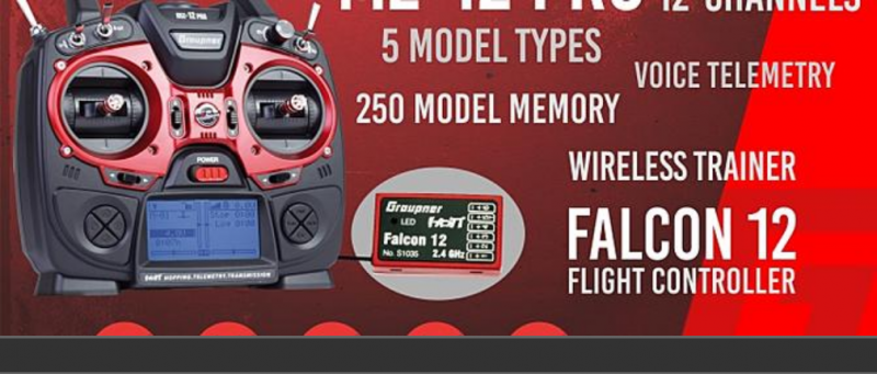 Image 6 of Graupner mz-12 PRO 12 Channel 2.4GHz HoTT Transmitter with Falcon 12 Receiver