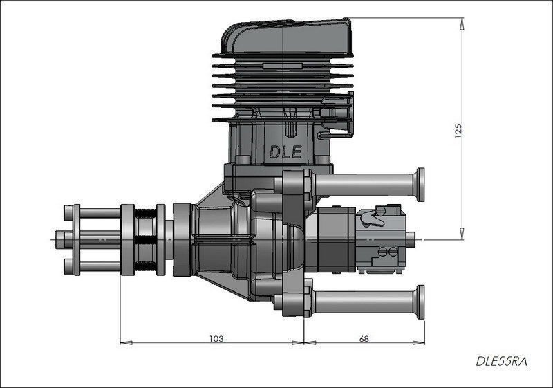 Image 4 of DLE 55RA Rear carb and Rear Exhaust gasoline aircraft engine