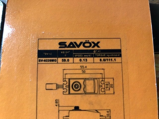 Image 2 of Lot of 6 Savox 0220MG HV digital servos .13/111.1 @7.4