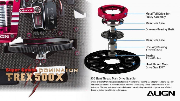 Image 3 of Align T-Rex 500X Dominator Super Combo Helicopter with DS530/DS535 Servos