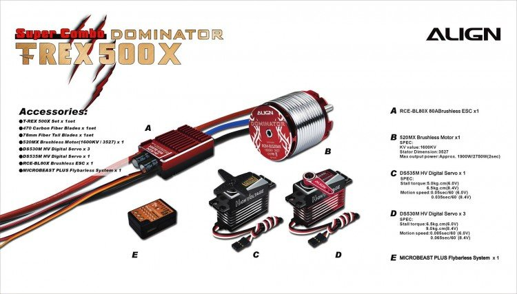 Image 8 of Align T-Rex 500X Dominator Super Combo Helicopter with DS530/DS535 Servos
