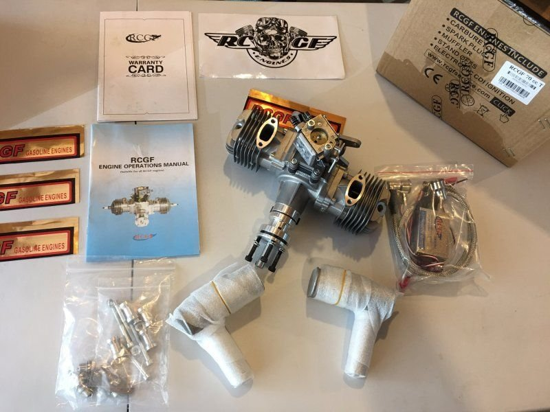 Image 0 of RCGF 70cc TWIN Gas Engine (new version w/angled plugs)