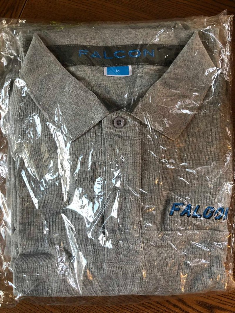 Image 0 of Falcon Gray embroider logo pull over collar shirt Small