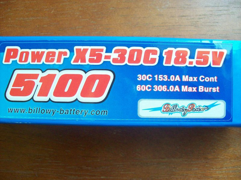 Image 1 of 5100mah 18.5volt 30c 5 cell lithium polymer