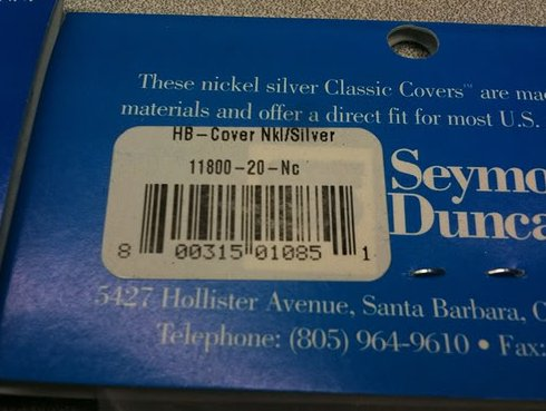 Image 2 of Seymour Duncan Classic Cover Nickel Silver Humbucker Pickup Cover - Brand New!
