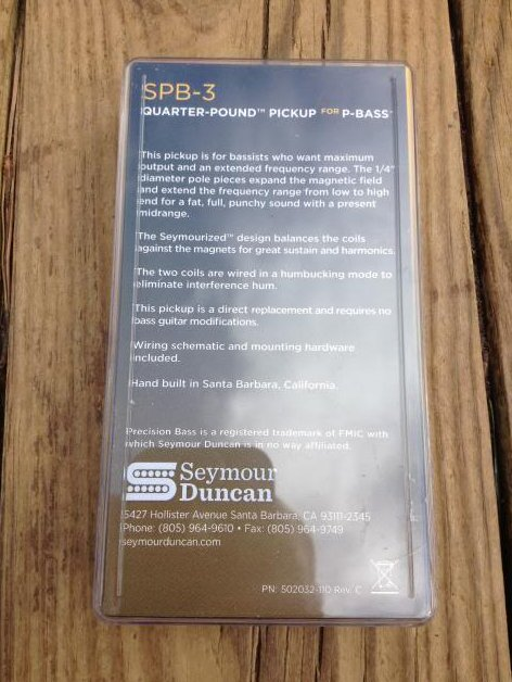 Image 1 of Seymour Duncan SPB3 Quarter Pound P Bass Pickup SET Fender Precision Bass SPB-3