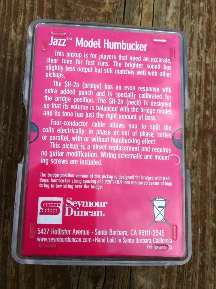 Image 1 of Seymour Duncan SH-2n Jazz Model Humbucker Guitar PICKUP White Neck Rhythm - NEW