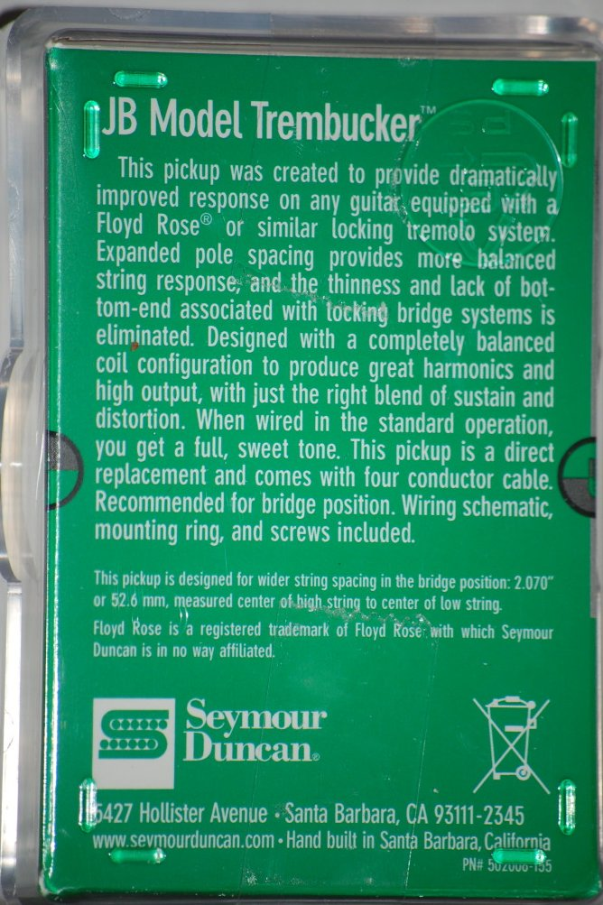Image 1 of Seymour Duncan TB-4 JB Trembucker Humbucker Pickup Bridge Black Floyd Rose