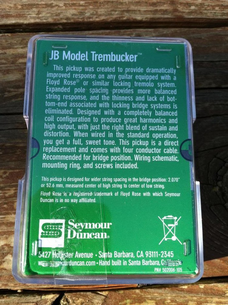 Image 1 of Seymour Duncan TB-4 JB Trembucker Humbucker PICKUP Reverse Zebra Bridge Guitar