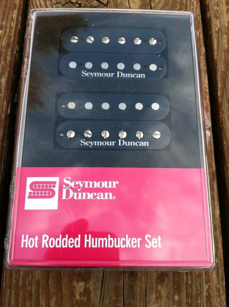 Image 0 of Seymour Duncan Hot Rodded Humbucker Pickup Set JB Bridge & Jazz Neck BLACK - NEW