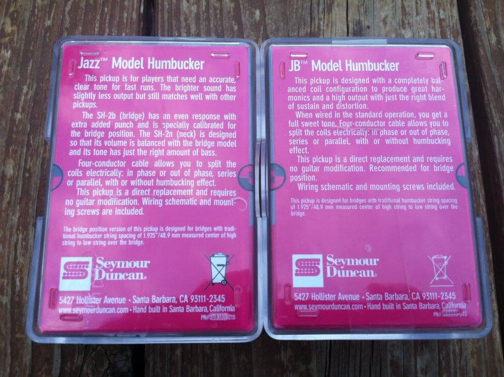 Image 1 of Seymour Duncan JB Jazz Hot Rodded PICKUP SET Humbucker SH-4 SH-2n White NEW