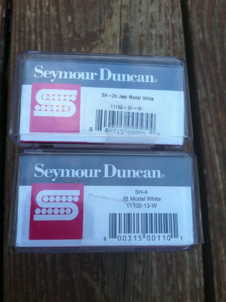 Image 2 of Seymour Duncan JB Jazz Hot Rodded PICKUP SET Humbucker SH-4 SH-2n White NEW