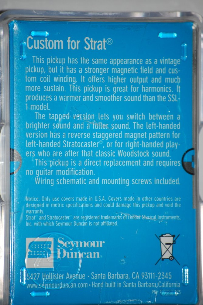 Image 1 of Seymour Duncan SSL-5 Custom Staggered Strat Pickup WHITE Fender Stratocaster