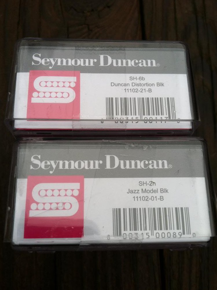 Image 2 of Seymour Duncan Distortion SH-6 Bridge SH-2 Jazz Neck Humbucker Pickup Set BLACK