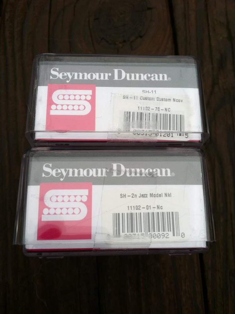 Image 2 of Seymour Duncan SH-11 Custom Custom Bridge & Sh-2 Jazz Neck Pickup Set NICKEL NEW
