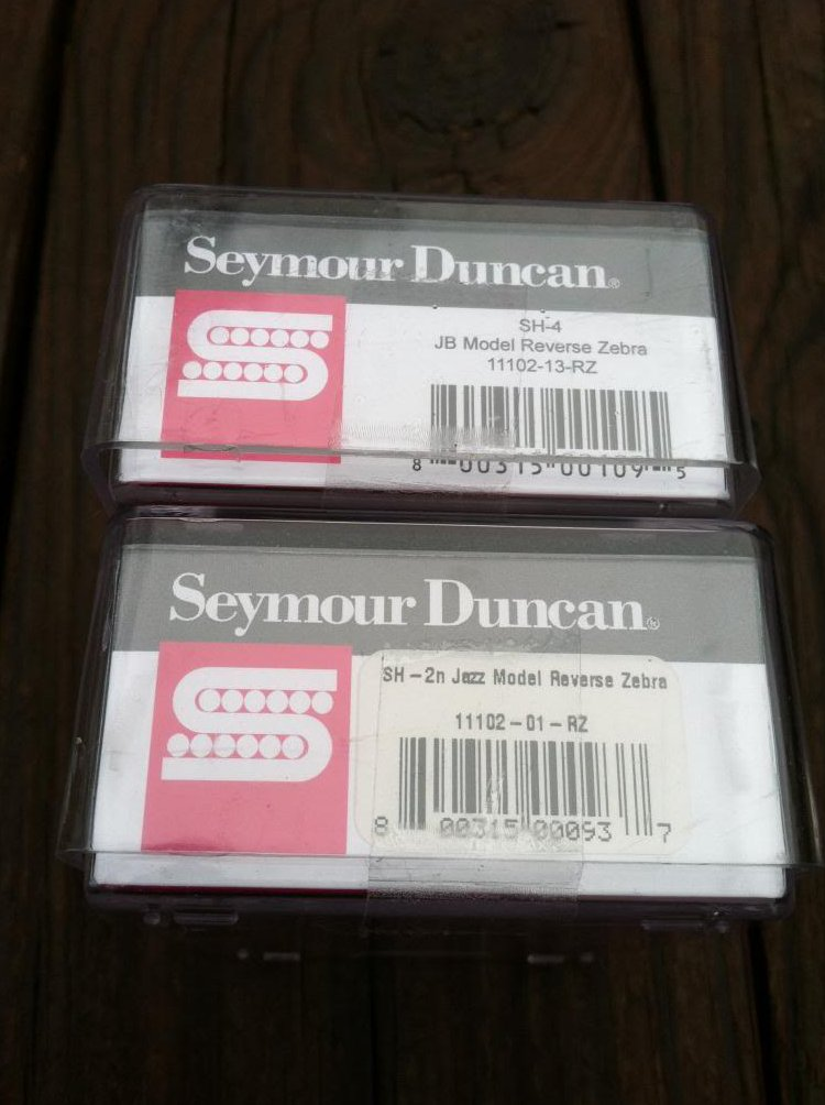 Image 2 of Seymour Duncan JB Jazz Hot Rodded PICKUP SET Humbucker SH-4 SH-2n REVERSE ZEBRA