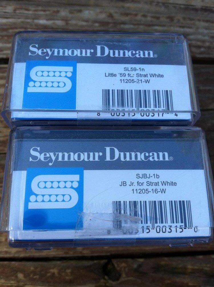 Image 2 of Seymour Duncan JB Jr & Little 59 Strat Pickup Set WHITE SJBJ-1b SL59-1n Fender