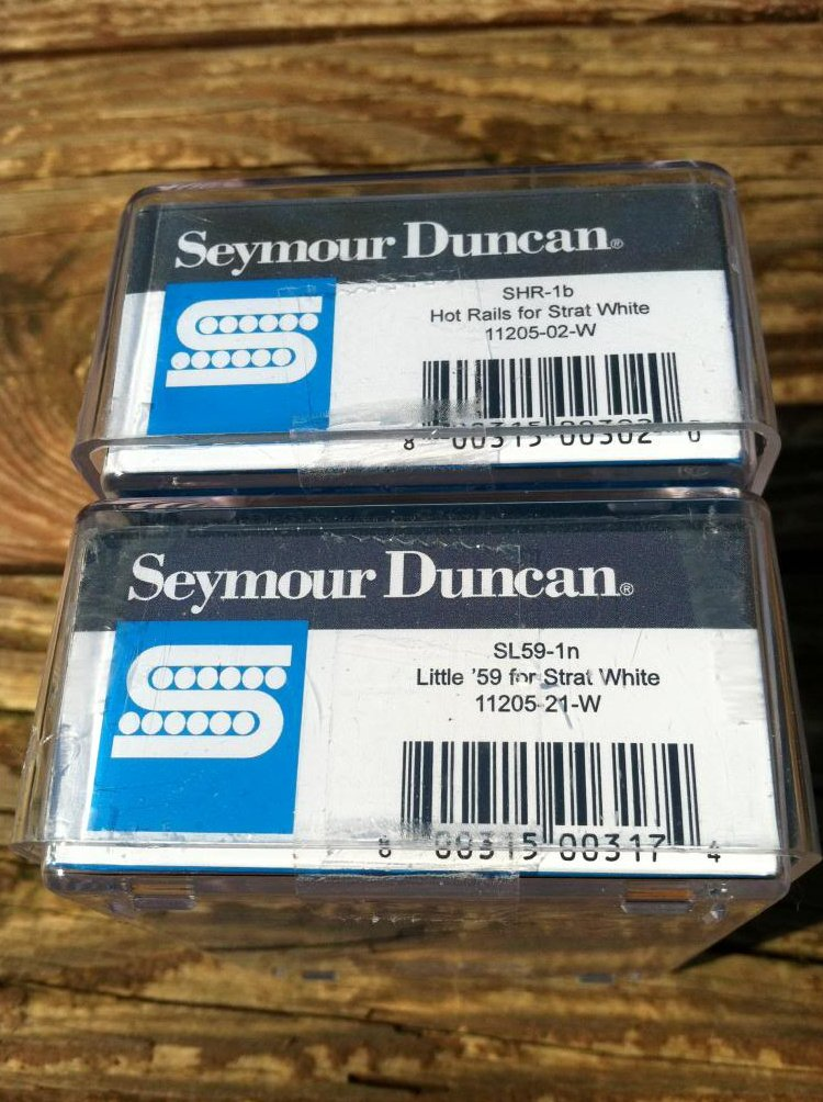 Image 2 of Seymour Duncan Hot Rails & Little 59 Strat Pickup Set WHITE SHR-1b SL59-1n