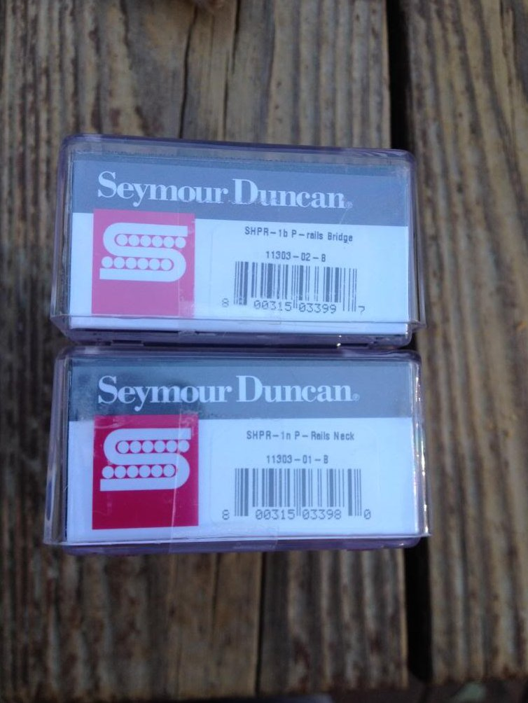 Image 2 of Seymour Duncan P-Rails Pickup Set SHPR-1b Bridge & SHPR-1n Neck HOT Black P-90