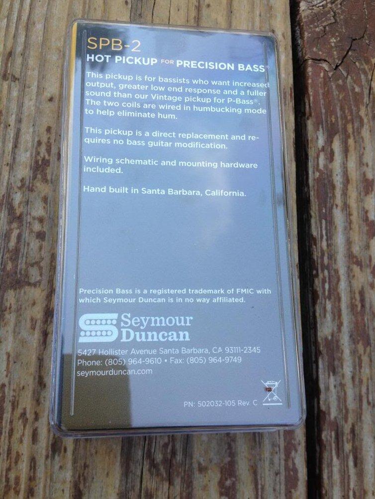 Image 1 of Seymour Duncan SPB-2 Hot P Bass Pickup SET Fender Precision Bass NEW Pickups