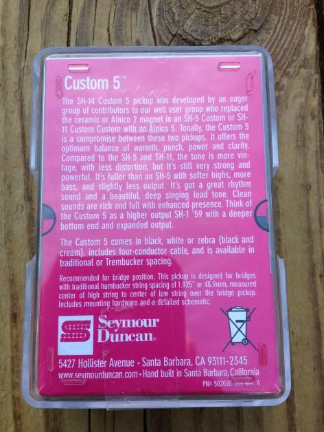 Image 1 of Seymour Duncan SH-14 Custom 5 Black Humbucker Pickup Bridge - Brand New!