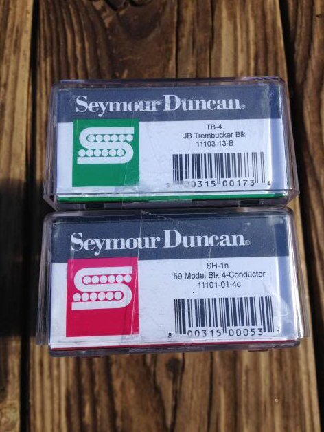 Image 2 of Seymour Duncan TB-4 JB Trembucker Bridge & SH-1N 59 4 Conductor Pickup Set BLACK