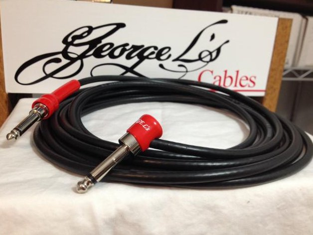 Image 0 of George L's 15' .225 Guitar Bass Cable BLACK / RED Right Angle / Straight