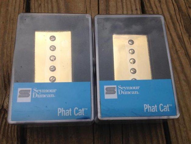 Image 0 of Seymour Duncan SPH90-1 Phat Cat GOLD Pickup Set P-90 for Humbucker Bridge/Neck