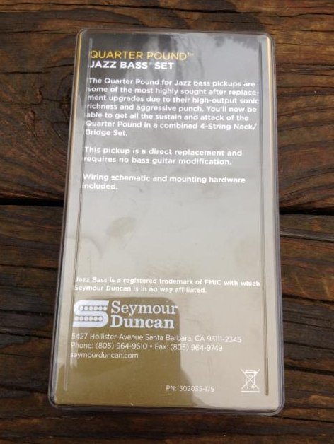Image 1 of SEYMOUR DUNCAN Quarter Pound SJB-3 Jazz Bass Neck & Bridge Pickup Set Fender