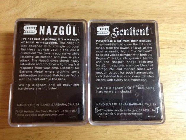 Image 1 of Seymour Duncan Nazgul Trembucker & Sentient 6 String Guitar Pickup Set BLACK