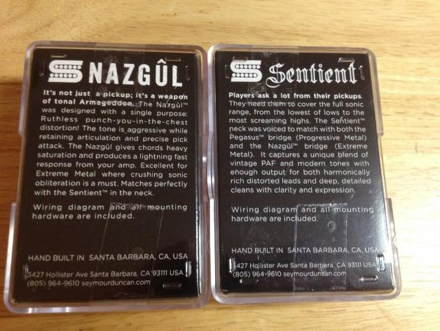 Image 1 of Seymour Duncan Nazgul & Sentient 6 String Guitar Humbucker Pickup Set BLACK