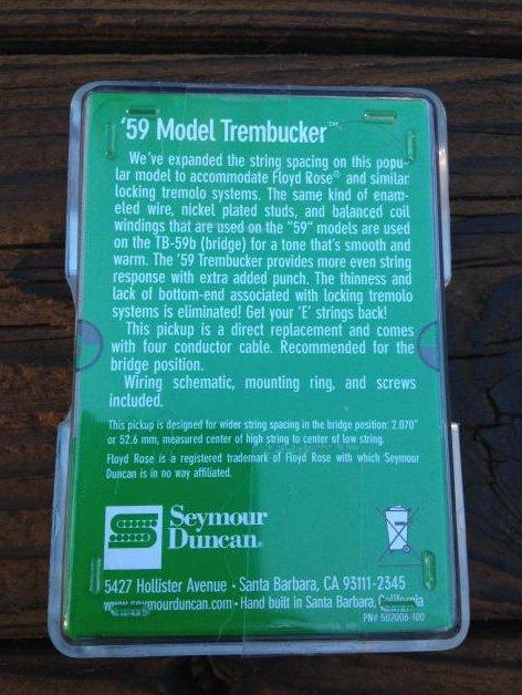 Image 1 of Seymour Duncan TB-59 Bridge Trembucker BLACK Humbucker Guitar Pickup 59 Model