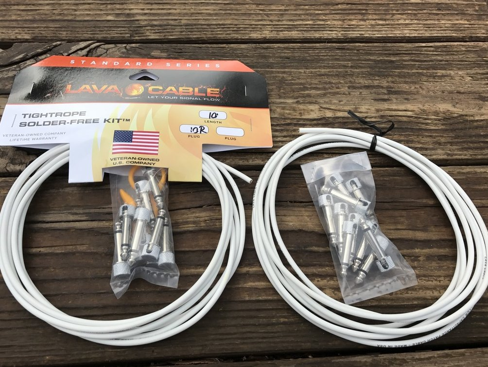 Image 0 of LAVA Solder-Free XL Pedalboard Kit 20ft Cable 20 RA VERSION 2 (V2) Plugs - WHITE