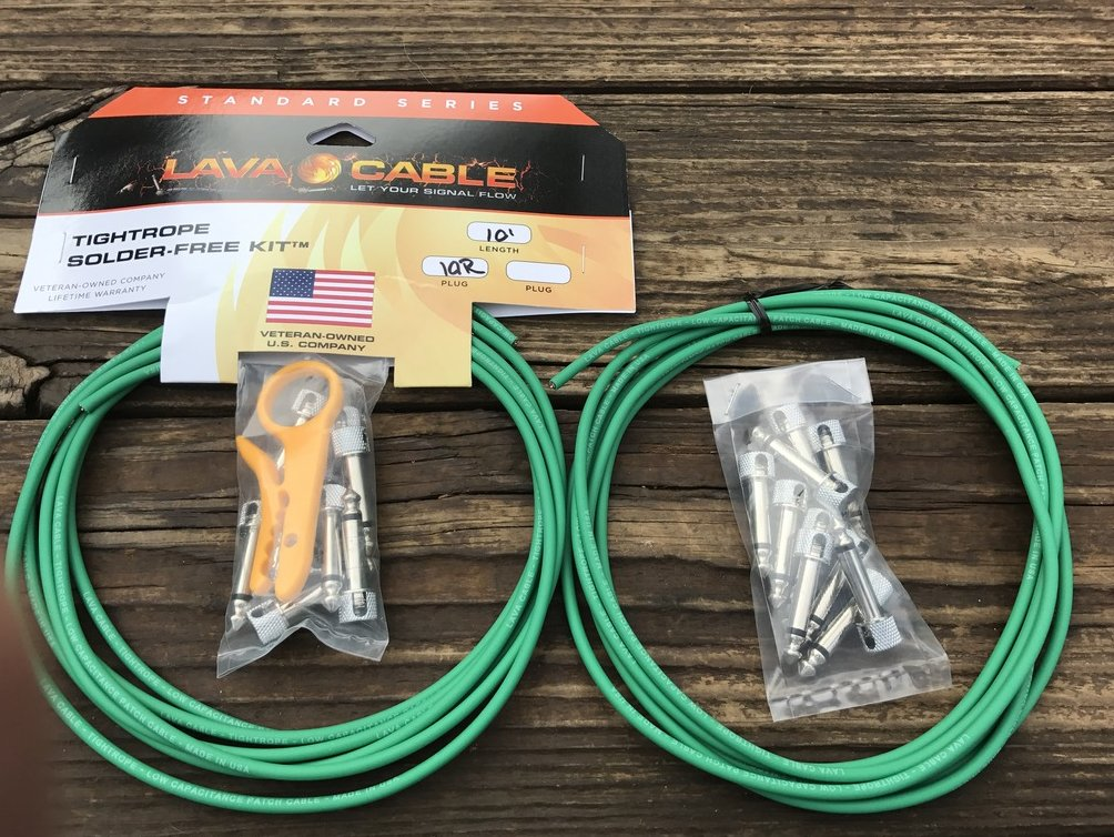 LAVA Solder-Free XL Pedalboard Kit 20ft Cable 20 RA VERSION 2 (V2) Plugs - GREEN