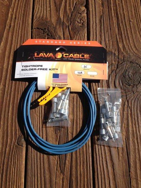 Image 0 of LAVA Solder-Free LARGE Pedalboard Kit 10ft Cable 20 RA Plugs CAROLINA BLUE